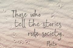 在沙子柏拉图的故事 免版税库存图片