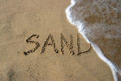 在沙子海滩写的沙子文本 库存图片