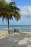 在沙子海滩的淡色椅子与棕榈树 免版税图库摄影