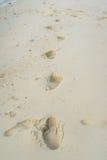 在沙子海滩的人的脚印 免版税库存图片
