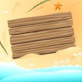 在沙子海滩背景传染媒介设计的空白的木板 免版税图库摄影