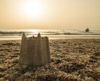 在沙子的一座城堡 库存照片