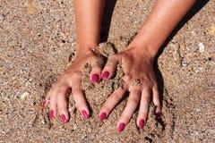 在沙子的作用 库存照片