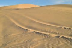 在沙子的公路车辆轨道在皇家沙丘,加利福尼亚,美国 免版税库存图片