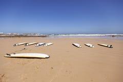 在沙子的冲浪板 免版税库存照片