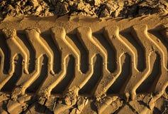 在沙子的压印的足迹挖掘机轨道 特写镜头纹理  免版税库存图片