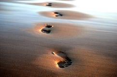 在沙子的四个脚印 免版税库存照片