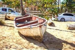 在沙子的小船 库存照片