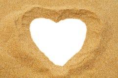 在沙子的心脏 库存图片