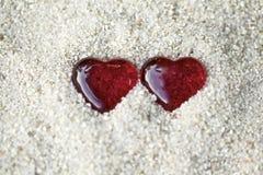 在沙子的心脏 免版税图库摄影
