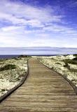 在沙子的木板走道沙丘 库存图片