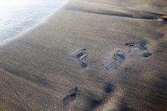 在沙子的湿脚步 库存图片