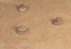 在沙子的禅宗心态 免版税图库摄影