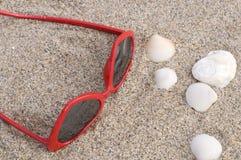 在沙子的红色心形的太阳镜与白色贝壳 免版税库存图片