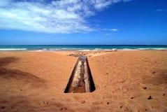 在沙子的线 免版税图库摄影