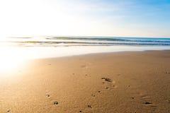 在沙子的脚印在日落的热带海滩 库存照片