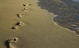 在沙子的脚印在海滩 免版税库存照片