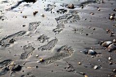 在沙子的脚印 图库摄影