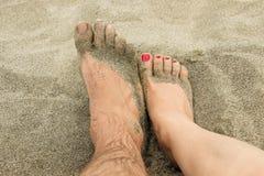 在沙子的脚 免版税图库摄影
