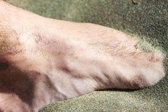 在沙子的脚 免版税库存图片