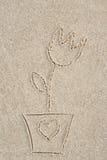 在沙子的花图画 皇族释放例证