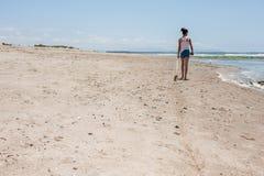 在沙子的足迹 库存照片