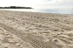 在沙子的轮胎轨道由海,海洋 关闭 库存照片