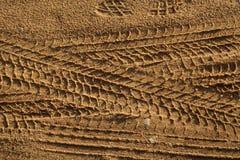 在沙子的轮胎轨道 库存图片