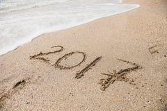 在沙子的题字2017年 库存图片