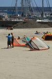 在沙子的风筝 库存照片