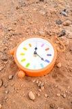 在沙子的经典模式时钟 免版税库存图片