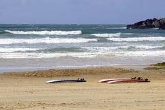 在沙子的水橇板 免版税图库摄影