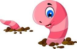 在沙子的滑稽的蠕虫动画片 库存例证