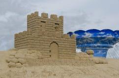 在沙子雕塑节日的城堡在拉彭兰塔 库存照片