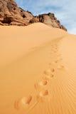 在沙子,撒哈拉大沙漠,利比亚的脚印 免版税库存照片