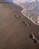 在沙子-海洋海滩的脚印 免版税库存图片