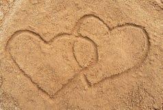 在沙子画的二个重点 库存照片