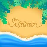 在沙子coas写的字法夏天 库存例证
