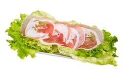 在沙拉的滚动的烟肉 库存图片