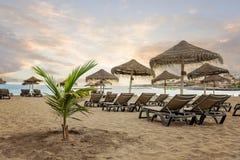 在沙滩Playa de Torviscas -特内里费岛,加那利群岛的风景日落 库存图片