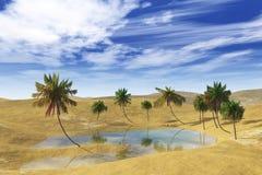 绿洲在沙漠、棕榈树和湖 图库摄影