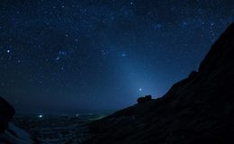 在沙漠山的夜空 免版税库存照片