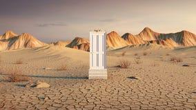 在沙漠山风景的门开头 皇族释放例证