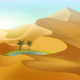 在沙漠沙丘的绿洲 库存例证