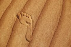 在沙漠沙子的脚印  免版税库存图片