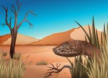 在沙漠的一条蛇 库存例证
