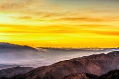 在沙漠的惊人的黄色日落 免版税图库摄影