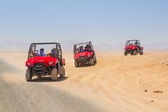 在沙漠的方形字体旅行在Hurghada附近 免版税库存图片