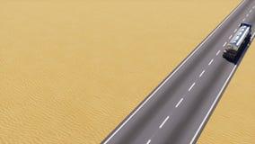 在沙漠路拷贝空间3D的汽油油槽车卡车 皇族释放例证