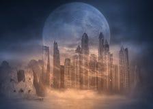 在沙漠都市风景的满月在沙尘暴 库存照片